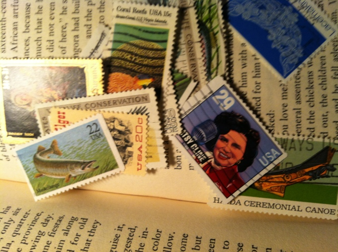 Stamps in a Used Book