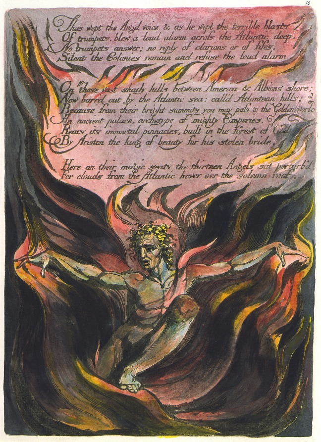 William Blake's original of America a Prophecy Plate 10/12, Copy A