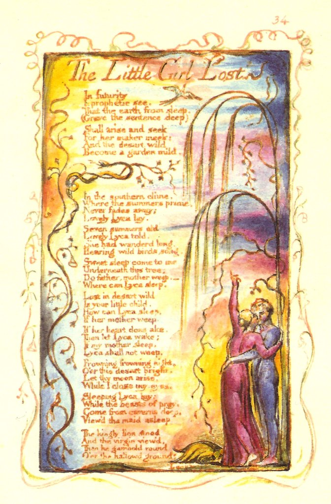 "William Blake's original, ""The Little Girl Lost."""