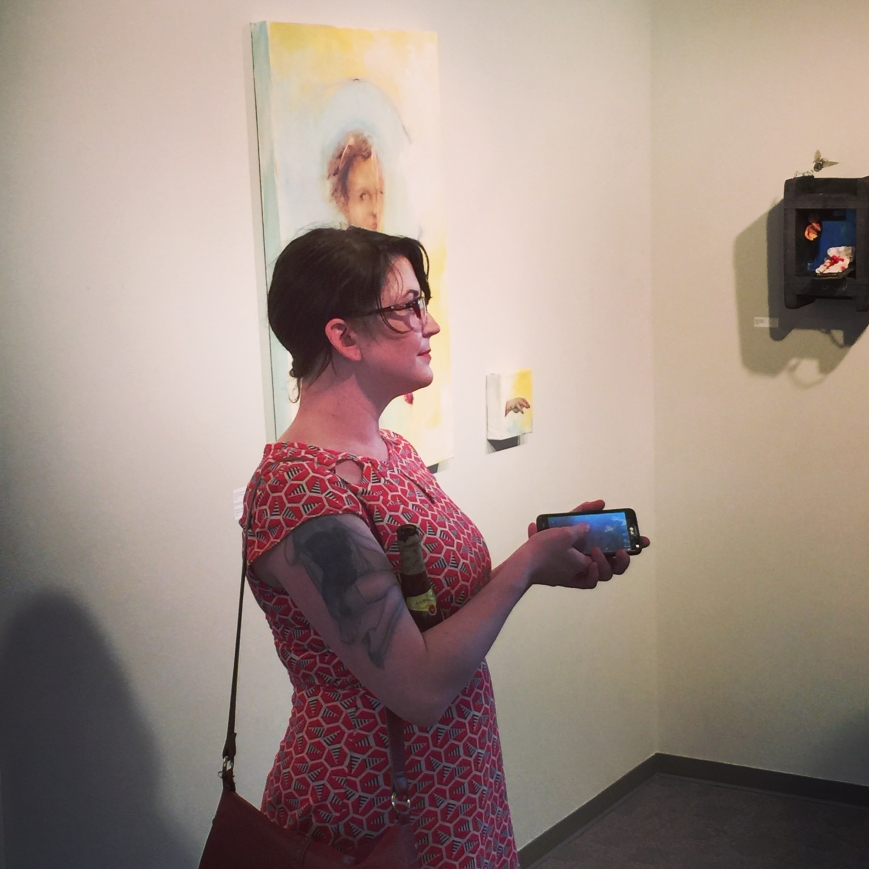 Emily Brandehoff at the Blake in the Heartland exhibit reception.