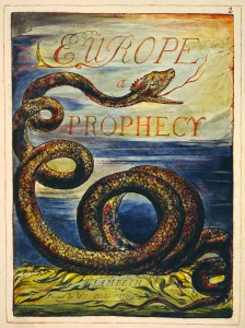 William Blake's Title Page for Europe a Prophecy, Copy K