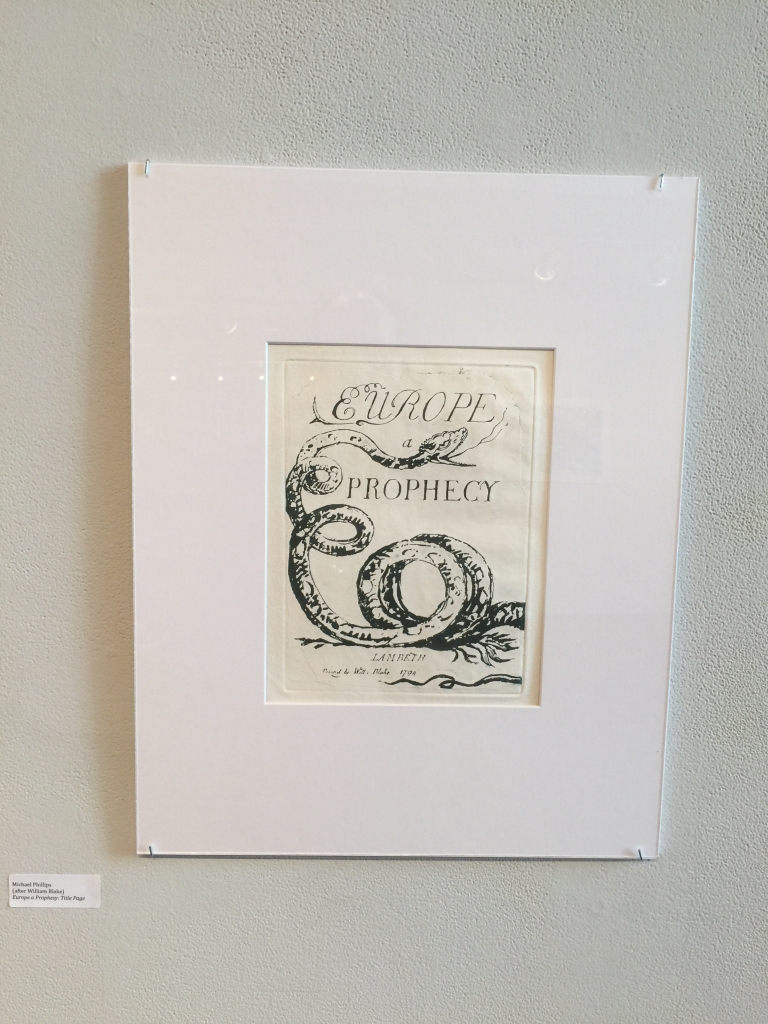 Michael Phillips's reproduction of the Title page for Europe a Prophecy