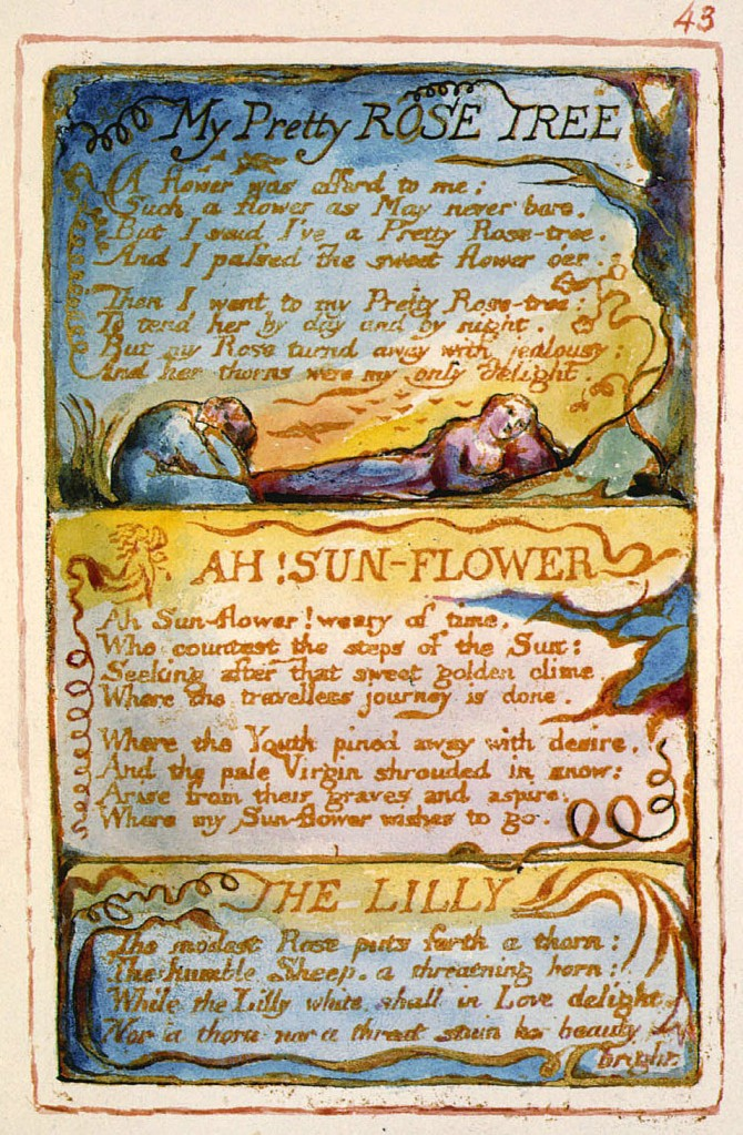 "William Blake's original of ""My Pretty Rose Tree,"" ""AH! Sun-Flower,"" and ""The Lilly,"" Copy AA"