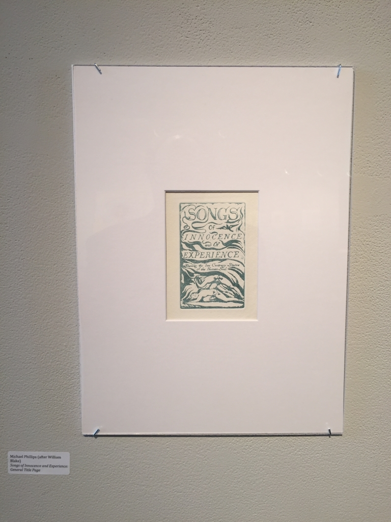 Michael Phillips's reproduction of the title page for the Songs of Innocence and of Experience.